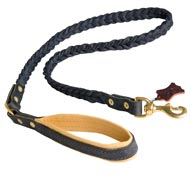 Braided Handcrafted Leather English Pointer Leash with Nappa Leather Lined Handle