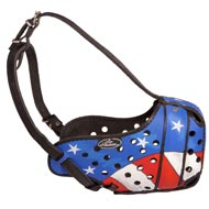 American Pride Painted Leather English Pointer Muzzle for Protection Training