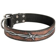 Handpainted Leather English Pointer Collar with Barbed Wire Drawing