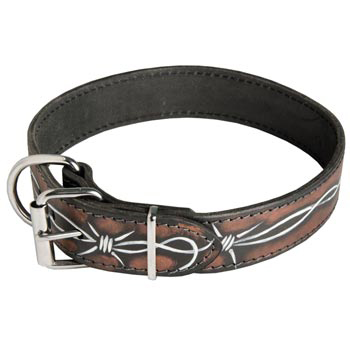 English Pointer Collar Leather Handmade Painted in Barbed Wire for Walking Dog