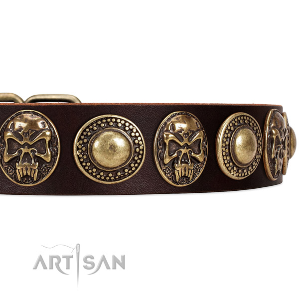 Genuine leather dog collar with adornments for handy use