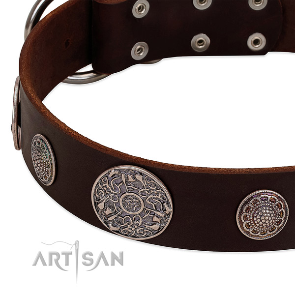 Reliable fittings on full grain genuine leather dog collar