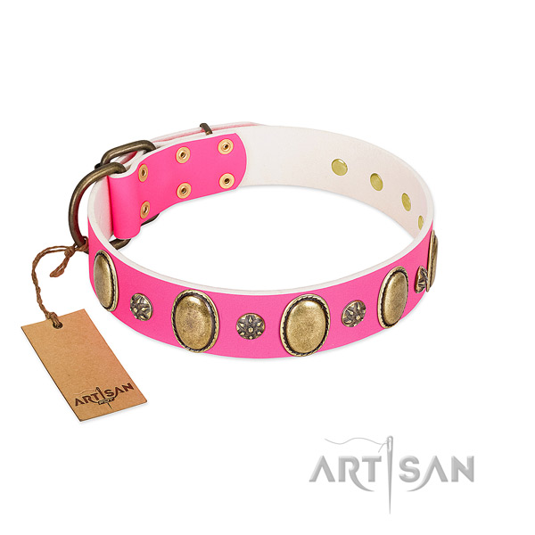 Best quality natural leather dog collar with rust-proof buckle