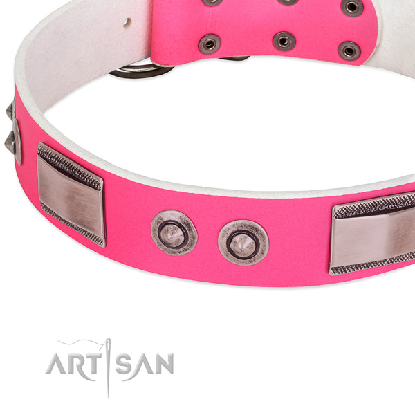 Easy adjustable full grain genuine leather collar with studs for your pet