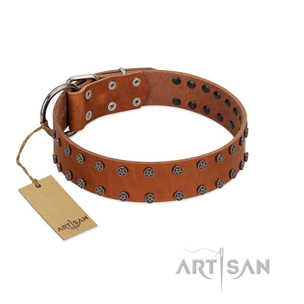 Easy adjustable natural leather dog collar