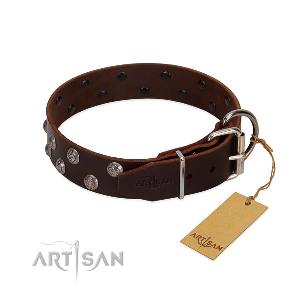 Durable D-ring on adorned full grain leather dog collar