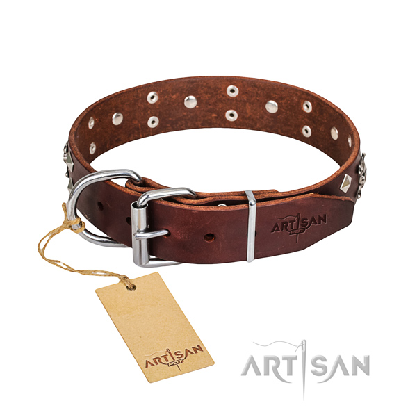 Comfy wearing dog collar of reliable full grain genuine leather with embellishments