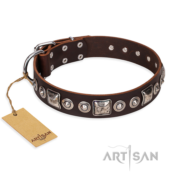 Genuine leather dog collar made of gentle to touch material with rust resistant fittings