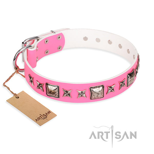 Leather dog collar made of flexible material with corrosion resistant D-ring