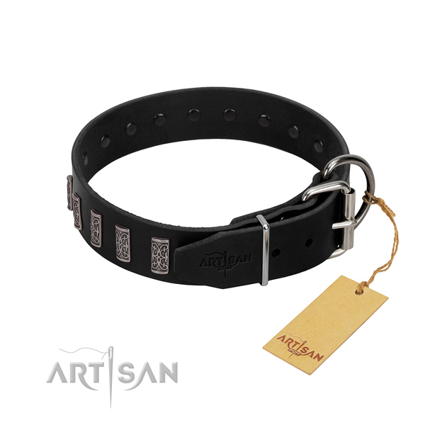 Rust-proof buckle on full grain natural leather dog collar for stylish walking your doggie