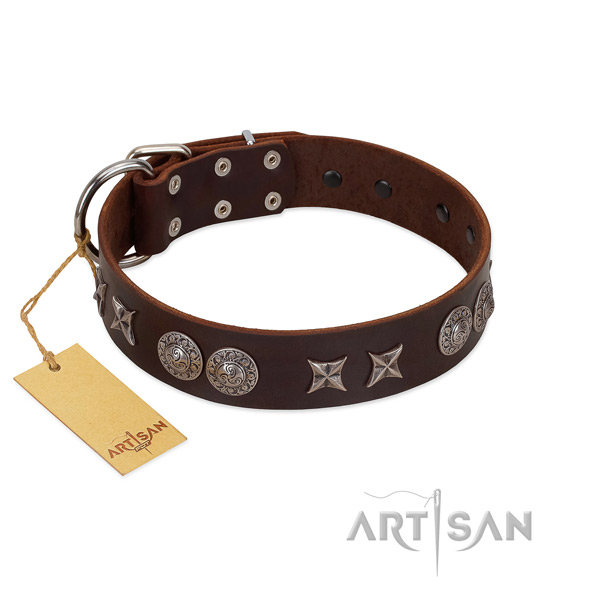 Soft to touch full grain natural leather dog collar for your stylish doggie