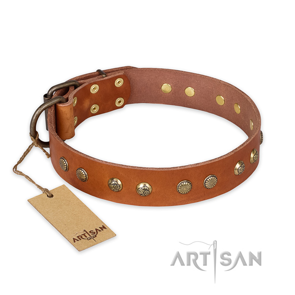 Adjustable full grain natural leather dog collar with corrosion proof traditional buckle
