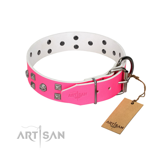 Reliable full grain natural leather dog collar with decorations for your pet