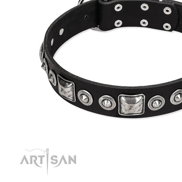 Leather dog collar made of quality material with adornments