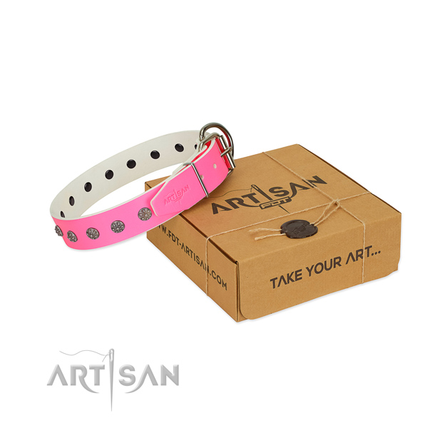 Gentle to touch genuine leather dog collar with decorations for your stylish doggie