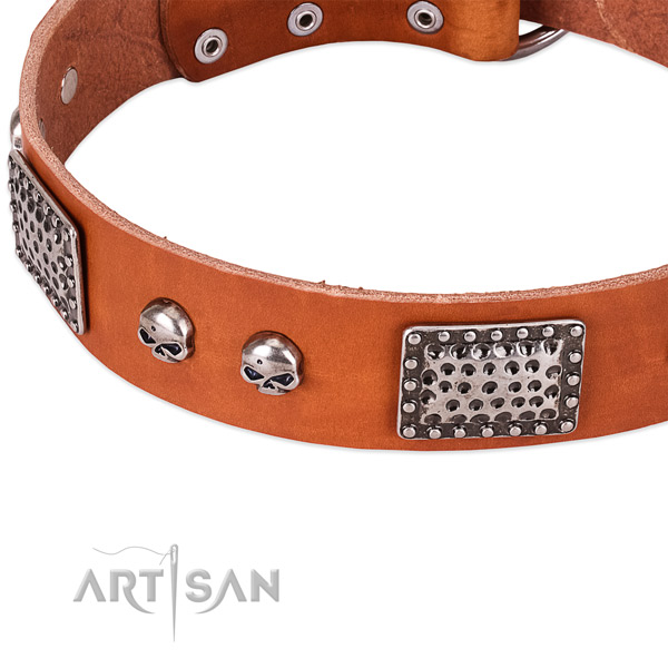 Strong hardware on full grain genuine leather dog collar for your canine