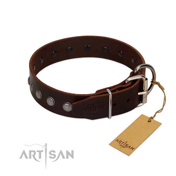 Trendy genuine leather collar for handy use your pet