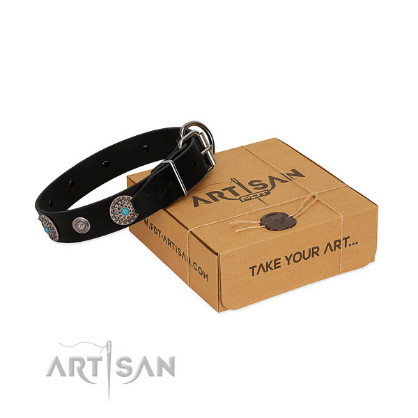 Daily walking reliable leather dog collar with decorations
