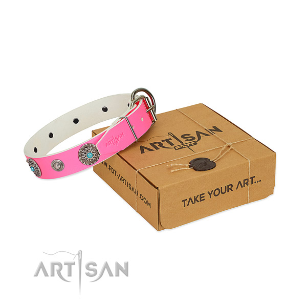 Everyday use flexible leather dog collar with embellishments