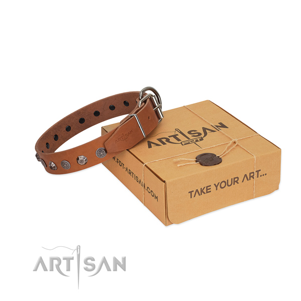 Full grain natural leather dog collar of gentle to touch material with remarkable decorations