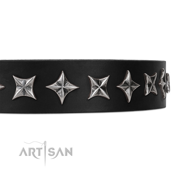 Comfortable wearing embellished dog collar of best quality natural leather