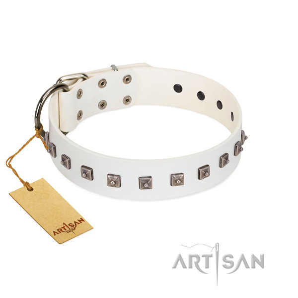 Fashionable adorned genuine leather dog collar