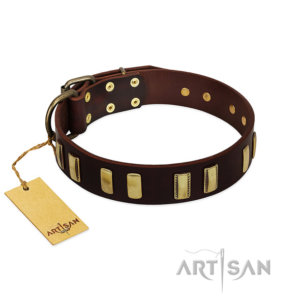 Top rate full grain natural leather dog collar with rust-proof D-ring