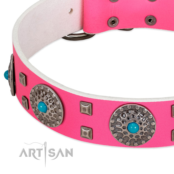Soft genuine leather dog collar with inimitable embellishments