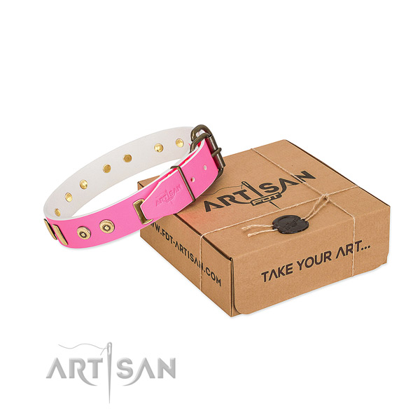 Full grain leather dog collar with stunning embellishments for comfy wearing