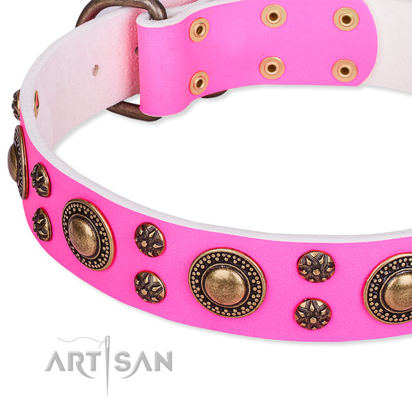 Easy wearing decorated dog collar of fine quality natural leather
