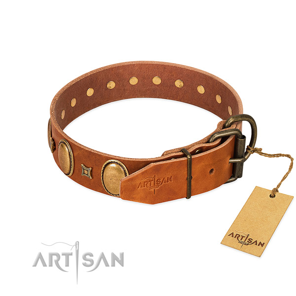 High quality full grain genuine leather collar created for your canine