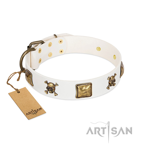 Easy wearing reliable full grain natural leather dog collar with adornments
