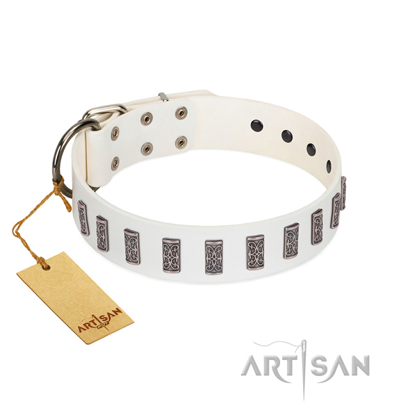 Walking soft to touch full grain genuine leather dog collar with studs