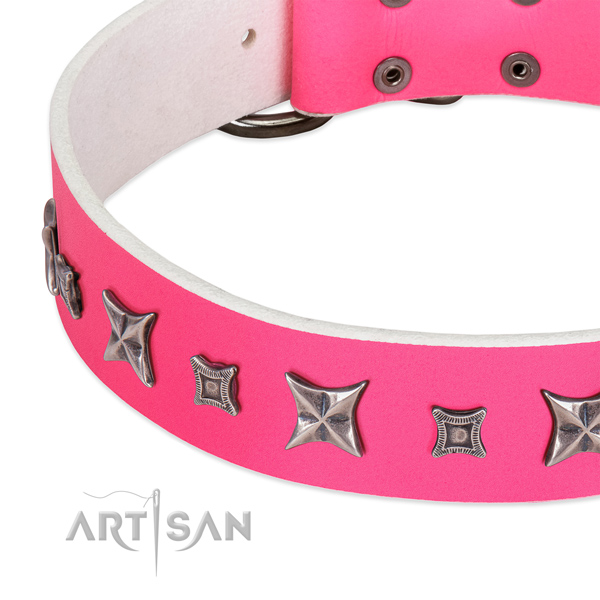 Handy use adorned genuine leather collar for your doggie