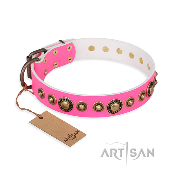 Best quality full grain genuine leather collar handcrafted for your doggie