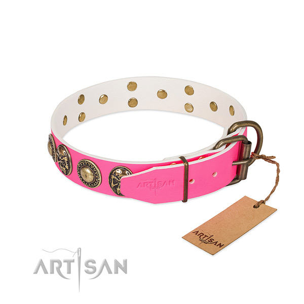 Strong traditional buckle on comfy wearing dog collar