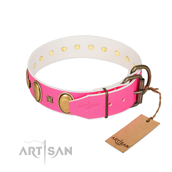 Top notch full grain genuine leather collar crafted for your pet