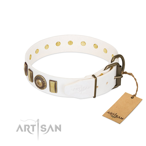 Durable full grain leather dog collar crafted for your four-legged friend