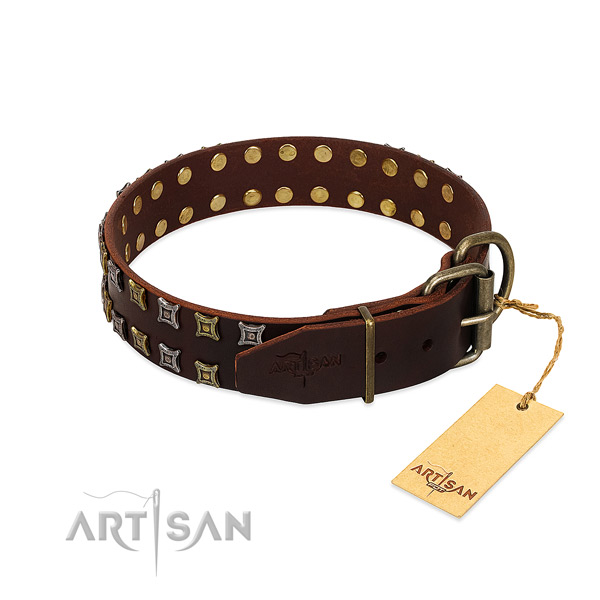 Best quality full grain leather dog collar handcrafted for your pet