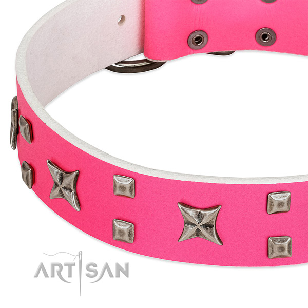 Fashionable full grain genuine leather collar for your four-legged friend stylish walking