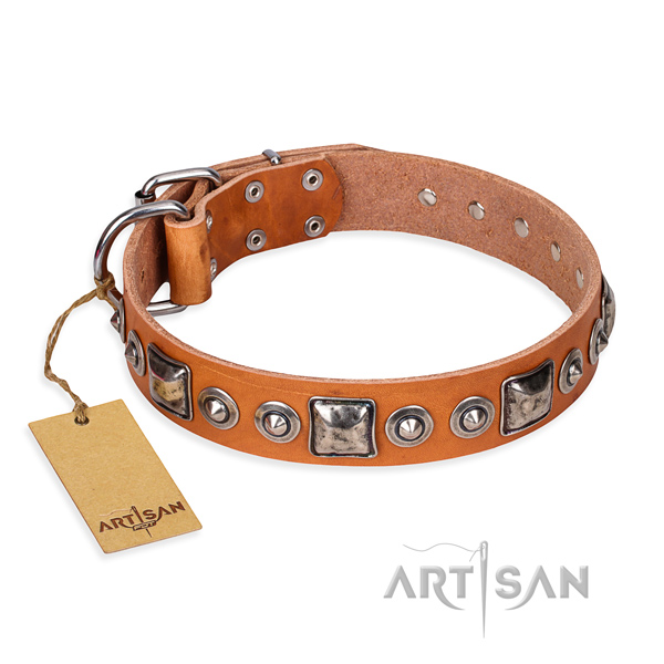Full grain genuine leather dog collar made of top rate material with corrosion proof fittings