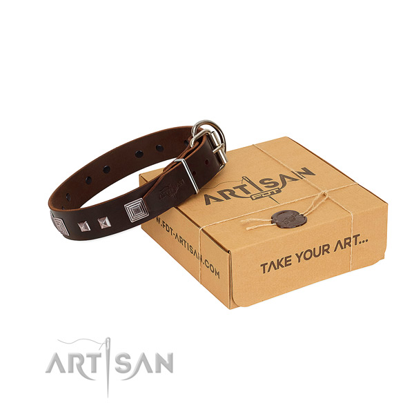 Easy to adjust natural leather collar with embellishments for your canine