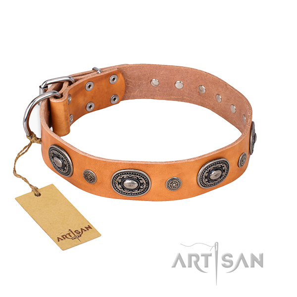 Soft genuine leather collar handmade for your dog