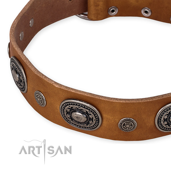 Top rate full grain leather dog collar made for your beautiful doggie