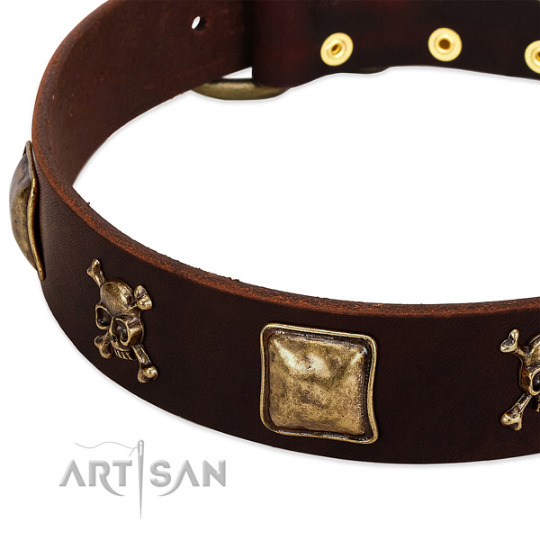 Soft full grain genuine leather dog collar with incredible embellishments