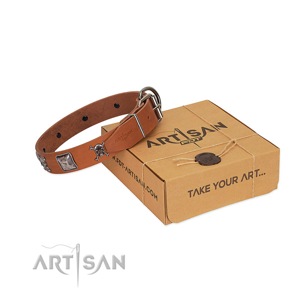 Handmade full grain genuine leather collar with decorations for your four-legged friend