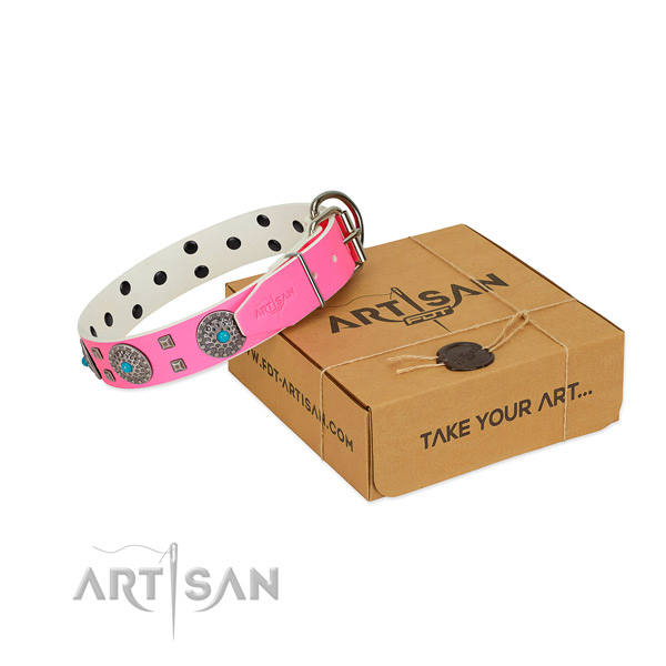 Best quality genuine leather dog collar with studs for your impressive dog