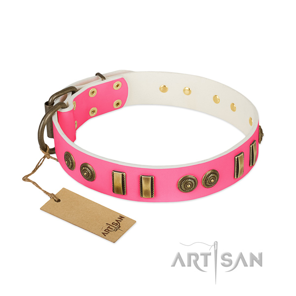 Adorned genuine leather collar for your pet