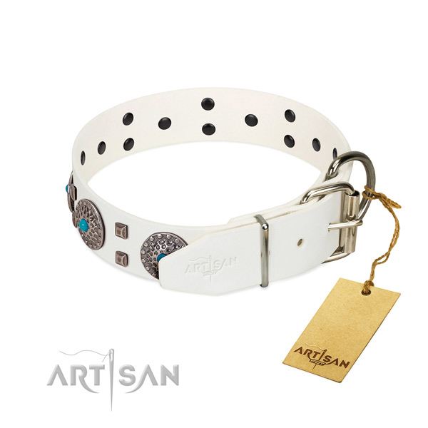 Soft to touch natural leather dog collar with decorations for daily walking
