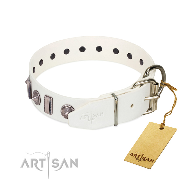 Comfortable wearing full grain genuine leather dog collar with fashionable decorations